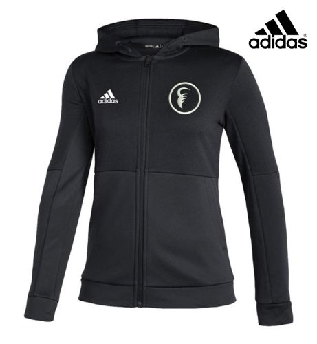 1031 Fitness Gym Holiday Adidas Team Isue Women's Full Zip Hooded (NEW STYLE)-Black