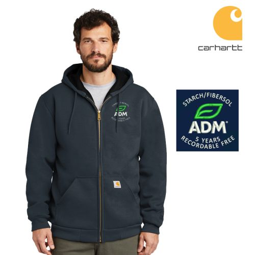 ADM Starch/Fibersol 5 Years Recordable Free Carhartt Rain Defender Rutland Thermal-Lined Hooded Zip Front Sweatshirt-New Navy