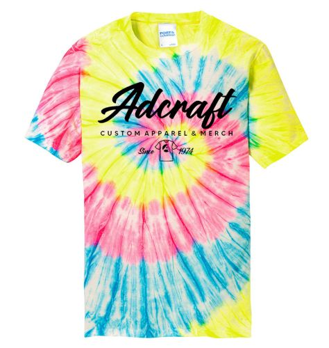 Adcraft Port and Company Unisex Tie Dye Tee-Neon Rainbow