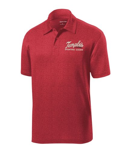 Adcraft/Temple's Sporting Goods Employee Store Sport Tek Heather Contender Polo-Scarlet Heather