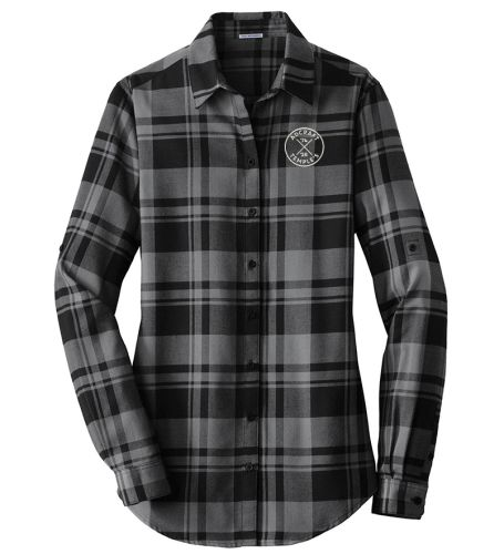 Adcraft/Temple's Sporting Goods Employee Store Port Authority Ladies Plaid Flannel Tunic-Snow Grey/Black