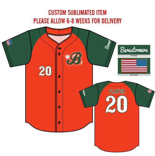 01. Barnstormers Sublimated Full-Button Jersey-Orange/Green