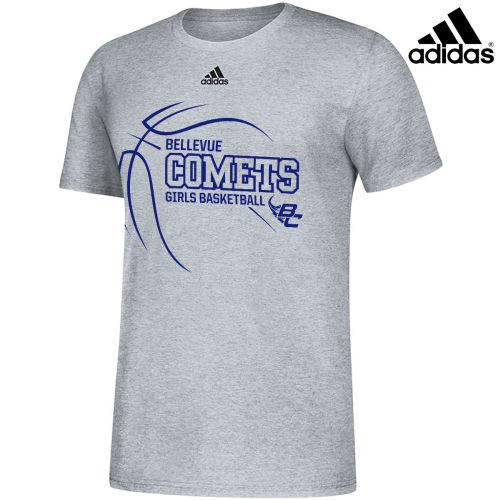 Bellevue Girls Basketball Adidas Amplifier Unisex Cotton Short Sleeve Tee-Grey