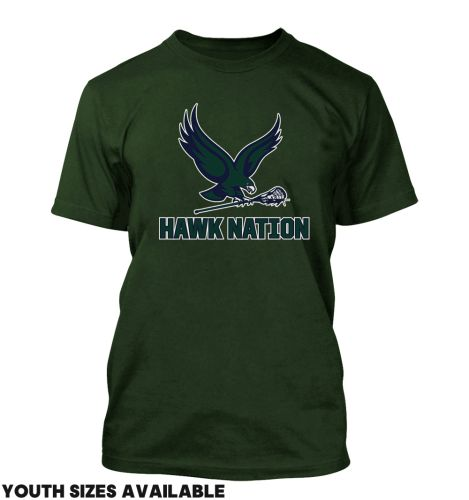 01. Bartlett Lacrosse HAWK NATION Unisex Basic Short Sleeve Tee-Forest Green