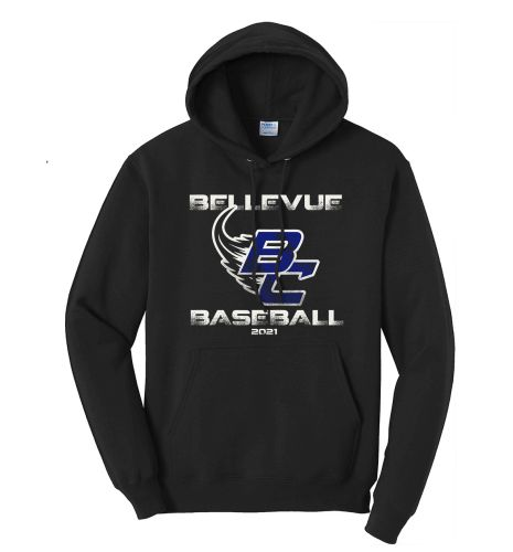 Bellevue Baseball Spring Unisex Basic Hooded Sweatshirt-Black