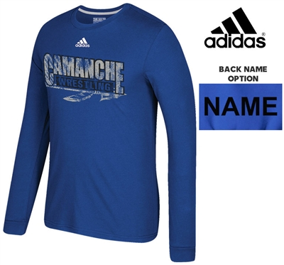Camanche Wrestling Club Adidas Go-To Soft Blend Long Sleeve Tee-Royal