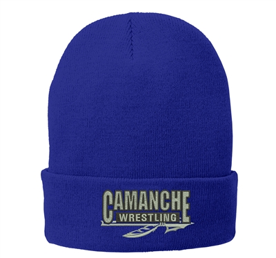 Camanche Wrestling Club Port and Company Fleece Lined Knit Cap-Royal
