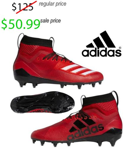 Clinton Football Player Gear Adidas AdiZero 8.0 SK MID Football Cleat-Red/White/Black