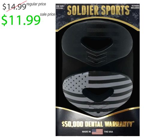 Colfax Mingo Football Player Gear Soldier Sports America Blackout 2 Pack Mouth Guard with Lip Protector