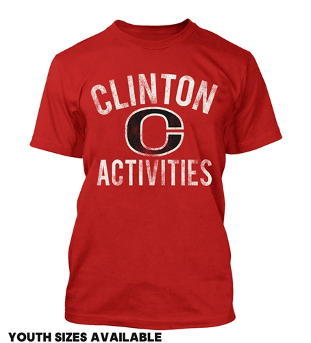 Clinton Middle School Apparel Unisex Basic Short Sleeve Tee-Red