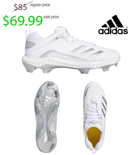 Adidas Men's Icon 6 Bounce TPU Baseball Cleat-White/Silver