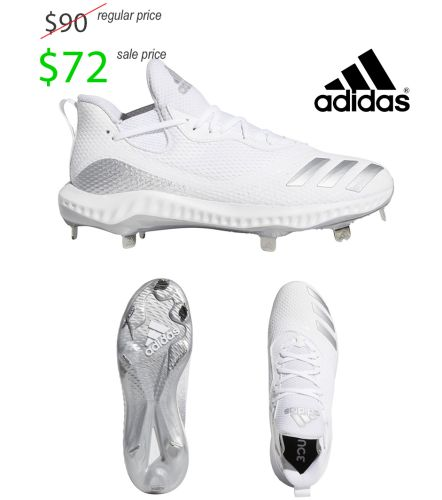 Adidas ICON V Bounce Metal Cleat Baseball Shoe-White/ Silver