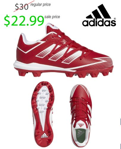 Adidas YOUTH Afterburner 7 MD Molded Baseball Cleat-Power Red