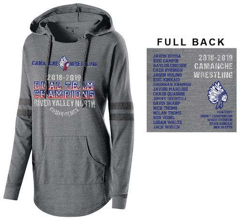 Camanche Wrestling Duel Champions 2019 Holloway Ladies Hooded Low Key Pullover- Vintage Grey/Vintage Black