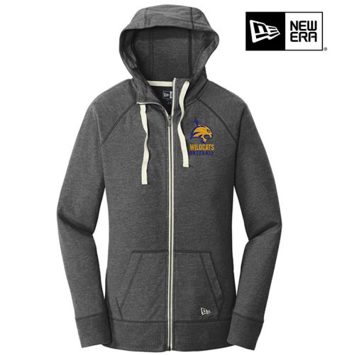 DN Wildcats Baseball 10U New Era Ladies Sueded Cotton Blend Full Zip Hoodie-Black Heather
