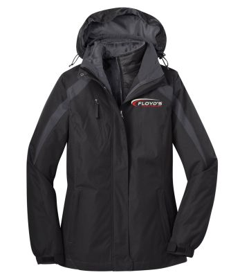 Floyd's Truck Center Company Store Port Authority Ladies Colorblock 3 in 1 Jacket-Black/Black/Magnet Grey