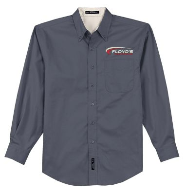 Floyd's Truck Center Company Store Port Authority Long Sleeve Easy Care Shirt-Steel Grey/Light Stone