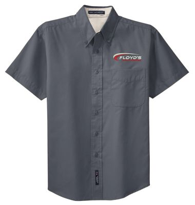 Floyd's Truck Center Company Store Port Authority Short Sleeve Easy Care Shirt-Steel Grey/Light Stone