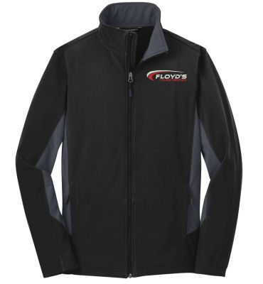 Floyd's Truck Center Company Store Port Authority Core Colorblock Soft Shell Jacket-Black/Battleship Grey
