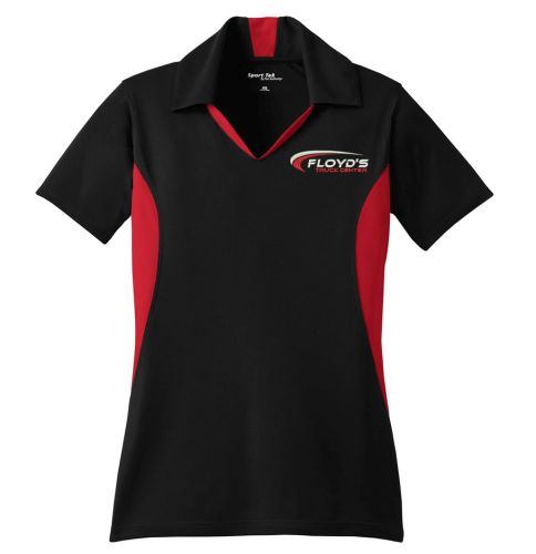 Floyd's Truck Center Company Store Sport-Tek Ladies Side Blocked Micropique Sport-Wick Polo-Black/True Red