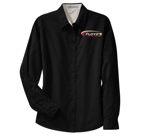 Floyd's Truck Center Company Store Port Authority Ladies Long Sleeve Easy Care Shirt-Black/Light Stone