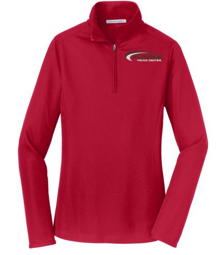 Floyd's Truck Center Company Store Port Authority Ladies Pinpoint Mesh 1/2-Zip-Rich Red