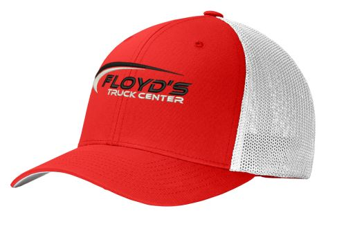 Floyd's Truck Center Company Store Port Authority Flexfit Mesh Back Cap-True Red/White