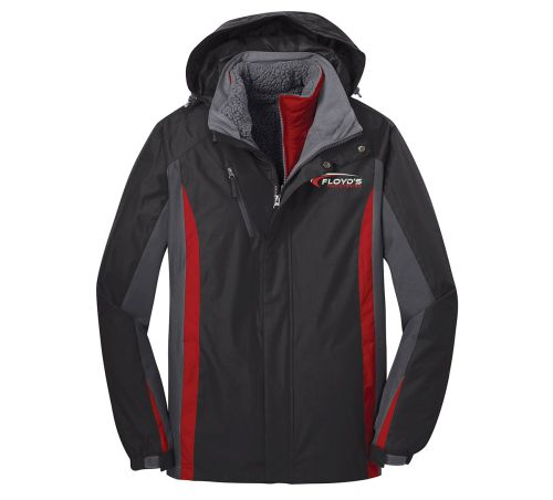Floyd's Truck Center Company Store Port Authority Colorblock 3 in 1 Jacket-Black/Magnet Grey/Signal red