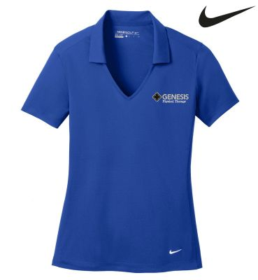 02.  Genesis Physical Therapy Nike Ladies Golf Dri-Fit vertical Mesh polo shirt - Old Royal