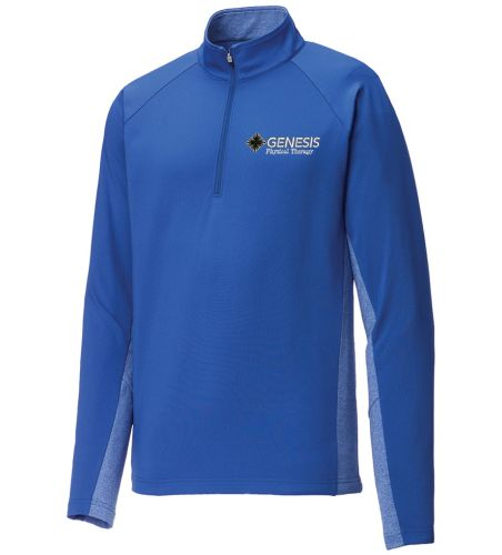 06. Genesis Physical Therapy Sport-Tek Wick Stretch 1/4 zip pullover - Royal Heather
