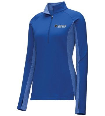 07. Genesis Physical Therapy Sport-Tek Ladies Wick Stretch 1/4 zip pullover - Royal Heather