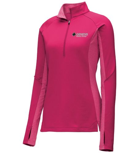08. Genesis Physical Therapy Sport-Tek Ladies Wick Stretch 1/4 zip pullover - Pink Rush Heather