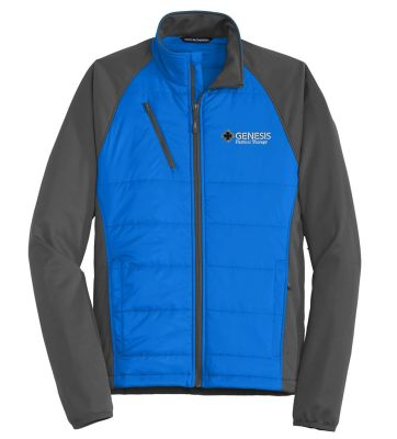 09. Genesis Physical Therapy Sport Port Authority Hybrid soft shell jacket - Skydiver Blue Grey