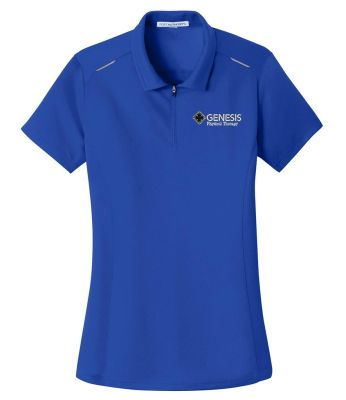 10. Genesis Physical Therapy Sport Ladies Pinpoint mesh zip polo - True Royal