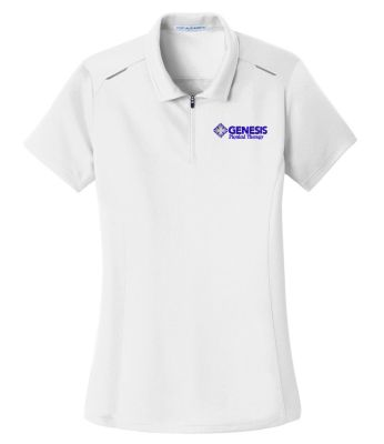 11. Genesis Physical Therapy Sport Ladies Pinpoint mesh zip polo - White