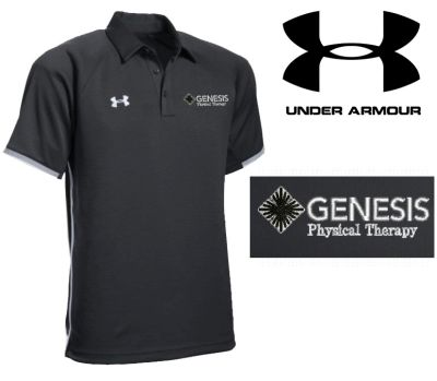 31. Genesis Physical Therapy Under Armour Men's Rival Polo-Black