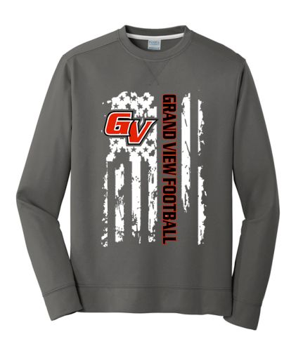 19. Grand View Football Holiday Unisex Performance Fleece Crewneck Sweatshirt-Charcoal