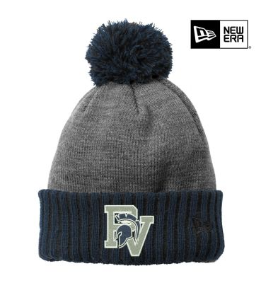 Hopewell Elementary Holiday New Era Colorblock Cuffed Beanie-Navy/Heather Grey