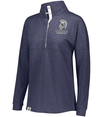 Hopewell Elementary Holiday Ladies Sophomore Pullover-Navy Heather