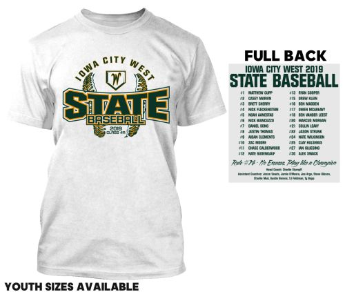 Iowa City West Baseball STATE 2019 Short Sleeve Tee-White