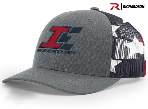Iowa Elite Wrestling Richardson Printed Mesh Trucker-Splite Heather Grey/Stars Stripes