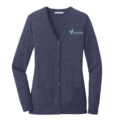 Jaybird Senior Living Port Authority Ladies Marled Cardigan Sweater-Navy Marl
