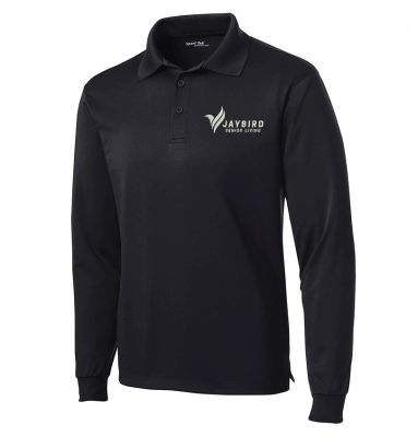 Jaybird Senior Living Sport Tek Long Sleeve Micropique Sport Wick Polo-Black