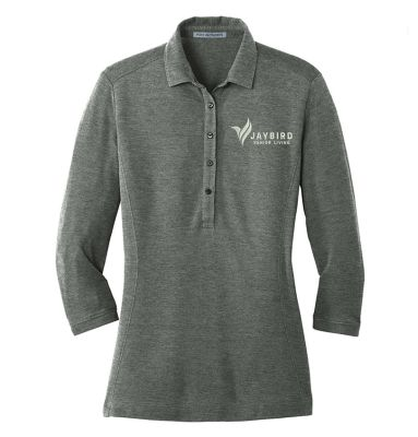 Jaybird Senior Living Port Authority Ladies Coastal Cotton Blend Polo-Deep Black/White