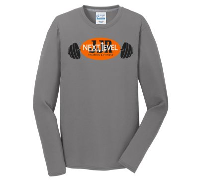 JJR Next Level Training and Fitness Long Sleeve Performance Blend Tee-Grey