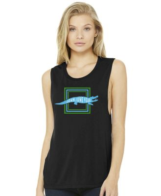John June Year Crocodile Ladies Flowy Muscle Tank-Black