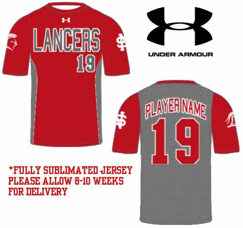 03. North Scott Lancers Under Armour Crewneck Sublimated Jersey-Red/Grey