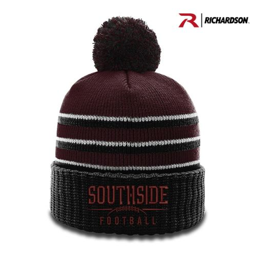 Lincoln Football Spring Striped Beanie with Cuff and Pom-Maroon/Black/White