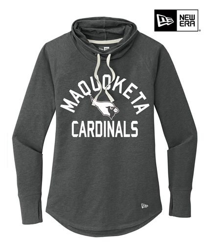 Maquoketa Cardinals New Era Ladies Sueded Cotton Blend Cowl Tee-Black Heather