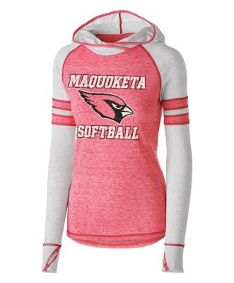 08. Maquoketa Softball Ladies Advocate Hoodie-Red/Silver